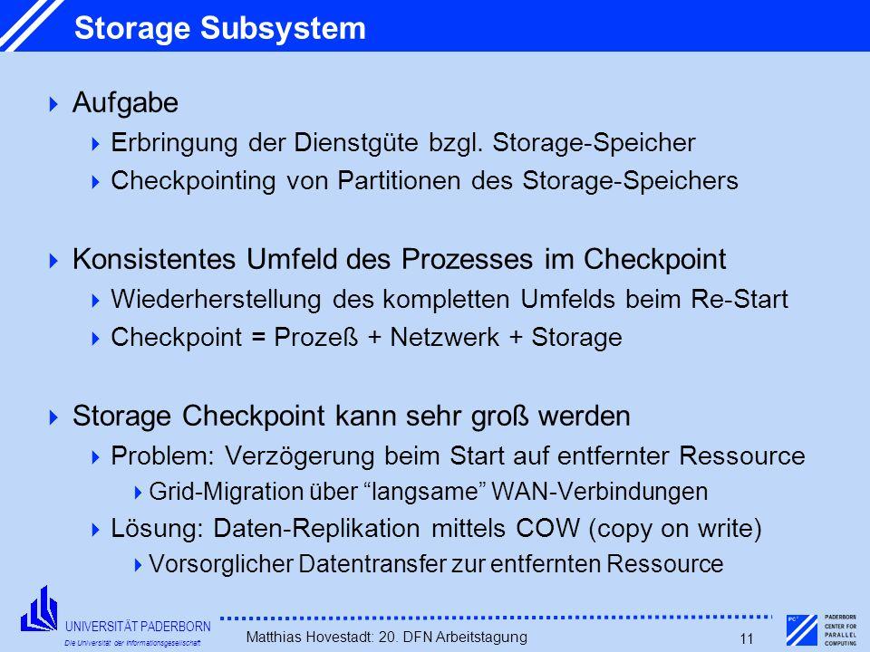 UNIVERSITÄT PADERBORN Die Universität der Informationsgesellschaft Matthias Hovestadt: 20. DFN Arbeitstagung 11 Storage Subsystem Aufgabe Erbringung d