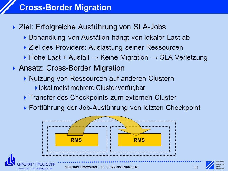 UNIVERSITÄT PADERBORN Die Universität der Informationsgesellschaft Matthias Hovestadt: 20. DFN Arbeitstagung 28 Cross-Border Migration Ziel: Erfolgrei