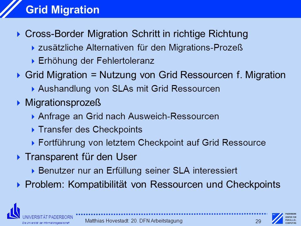 UNIVERSITÄT PADERBORN Die Universität der Informationsgesellschaft Matthias Hovestadt: 20. DFN Arbeitstagung 29 Grid Migration Cross-Border Migration