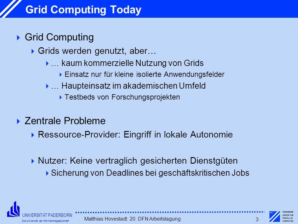 UNIVERSITÄT PADERBORN Die Universität der Informationsgesellschaft Matthias Hovestadt: 20. DFN Arbeitstagung 3 Grid Computing Today Grid Computing Gri