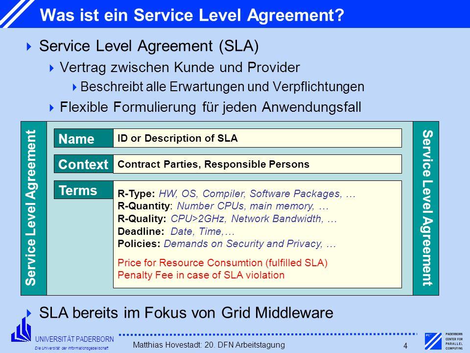 UNIVERSITÄT PADERBORN Die Universität der Informationsgesellschaft Matthias Hovestadt: 20. DFN Arbeitstagung 4 Was ist ein Service Level Agreement? Se
