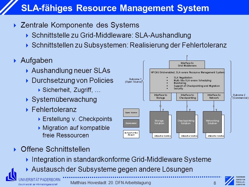 UNIVERSITÄT PADERBORN Die Universität der Informationsgesellschaft Matthias Hovestadt: 20. DFN Arbeitstagung 8 SLA-fähiges Resource Management System