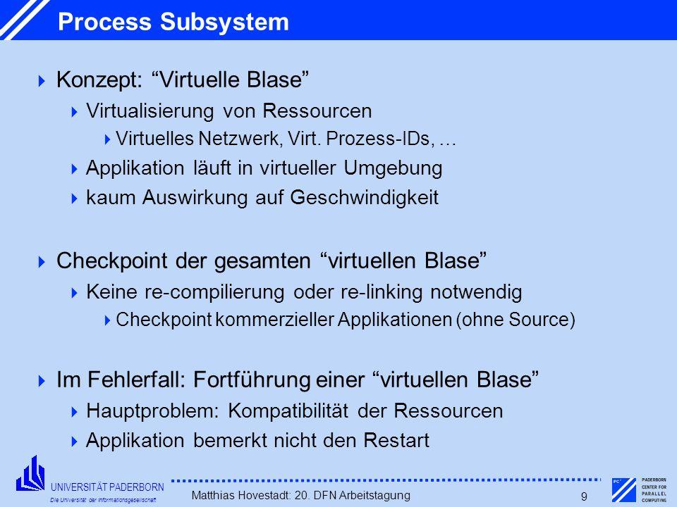 UNIVERSITÄT PADERBORN Die Universität der Informationsgesellschaft Matthias Hovestadt: 20. DFN Arbeitstagung 9 Process Subsystem Konzept: Virtuelle Bl