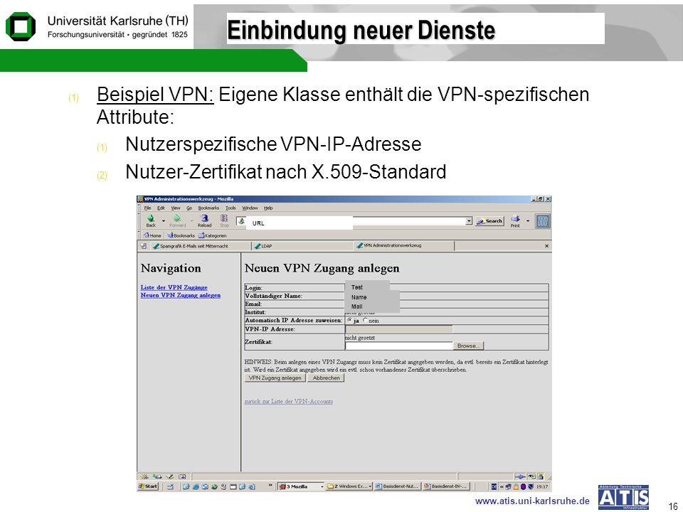www.atis.uni-karlsruhe.de 16 Einbindung neuer Dienste (1) Beispiel VPN: Eigene Klasse enthält die VPN-spezifischen Attribute: (1) Nutzerspezifische VP