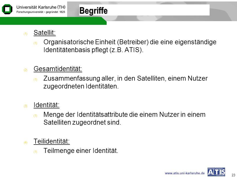 www.atis.uni-karlsruhe.de 23 Begriffe (1) Satellit: (1) Organisatorische Einheit (Betreiber) die eine eigenständige Identitätenbasis pflegt (z.B. ATIS