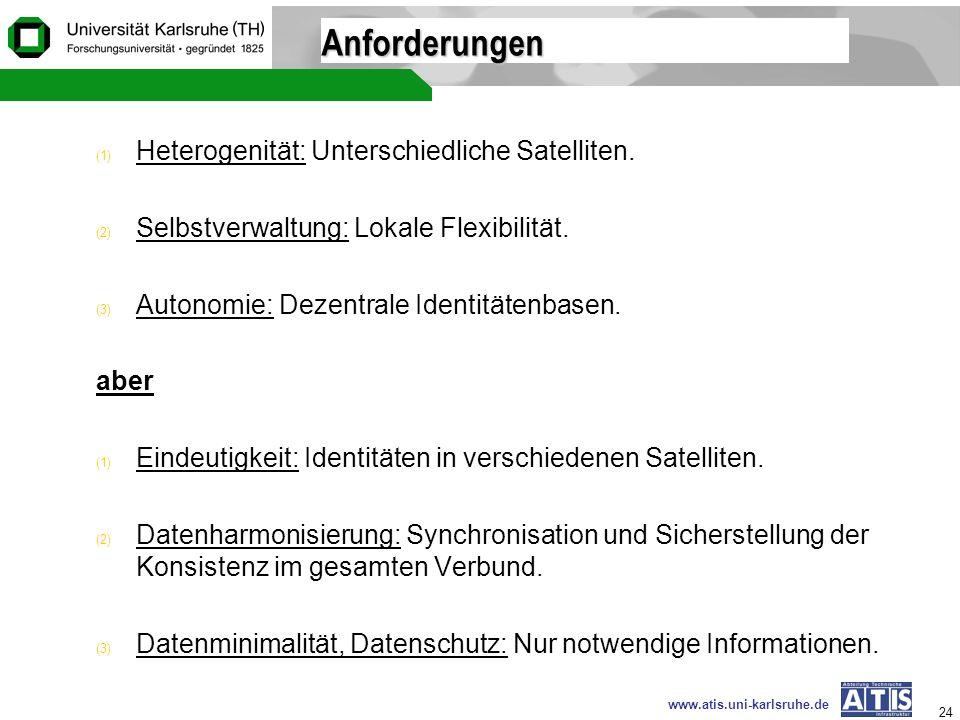 www.atis.uni-karlsruhe.de 24 Anforderungen (1) Heterogenität: Unterschiedliche Satelliten. (2) Selbstverwaltung: Lokale Flexibilität. (3) Autonomie: D