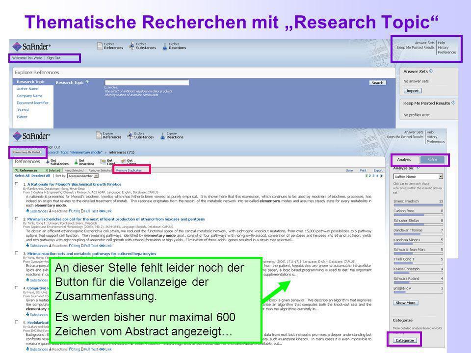 Auswahl passender Konzepte und Anzeige des Suchverlaufs (breadcrumbs) Anzeige des Suchverlaufs einer Suche, bezeichnet als Brotkrumen (breadcrumbs) Detailanzeige zum jeweiligen Suchschritt - per Maus aktivierbar