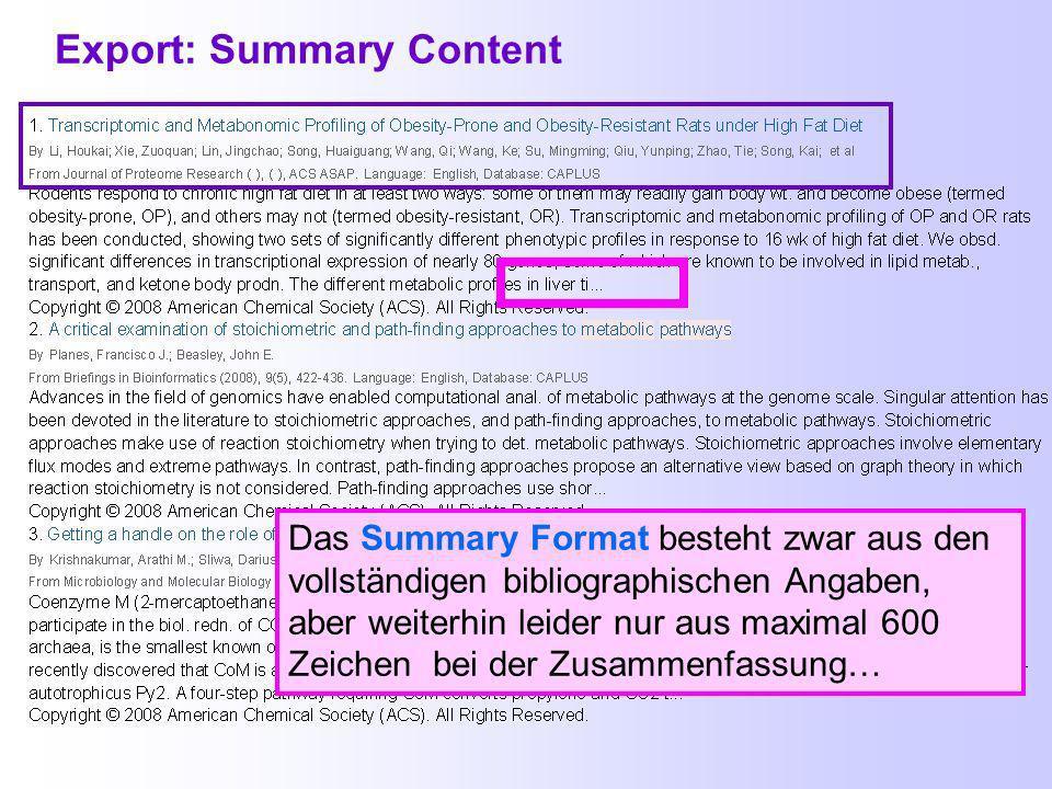 Export-Formate Es gibt jetzt wieder ein rtf-Format.