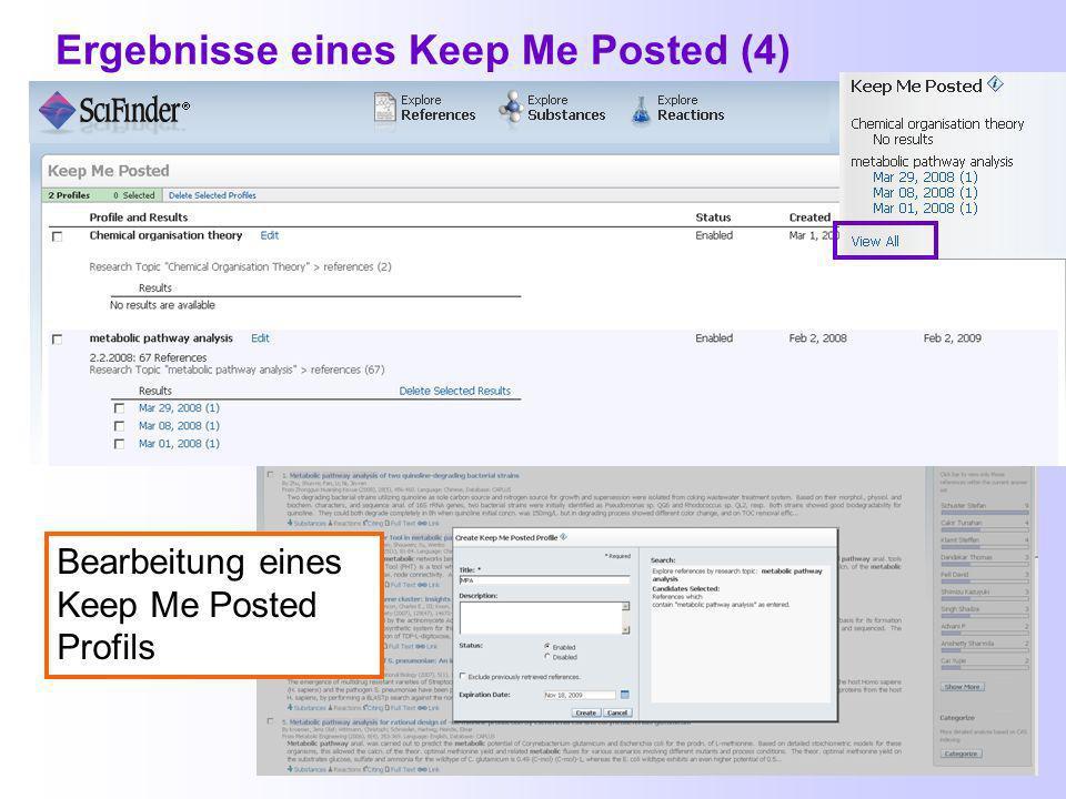 Ergebnisse eines Keep Me Posted (3) Benachrichtigung bei weiteren Einträgen zum Dokument (hier: Indexierung) Keep Me Posted-Ergebnisse, die noch nicht angesehen wurden, sind fett markiert.