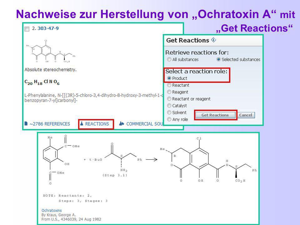 Trefferliste im Standard - Format Herstellung von Ochratoxin A mit Get References nach Einschränken mit aspergillus über Refine by Research Topic