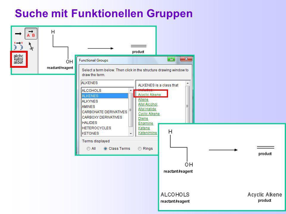 Beispiel einer Reaktionssuche: Herstellung von Alkenen aus Alkoholen durch Dehydratisierung