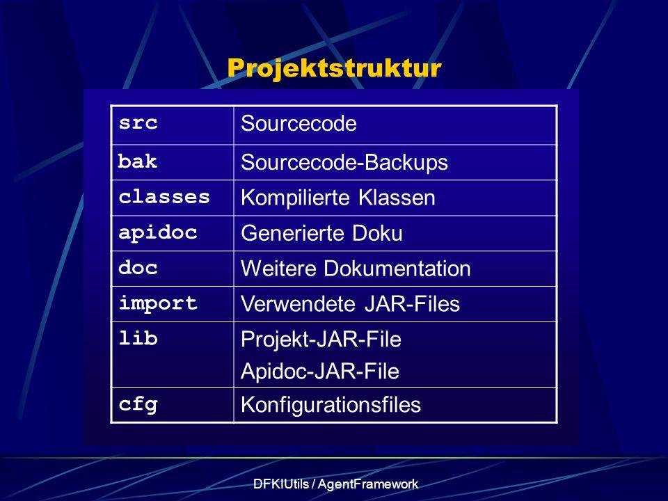 DFKIUtils / AgentFramework Projektstruktur src Sourcecode bak Sourcecode-Backups classes Kompilierte Klassen apidoc Generierte Doku doc Weitere Dokume