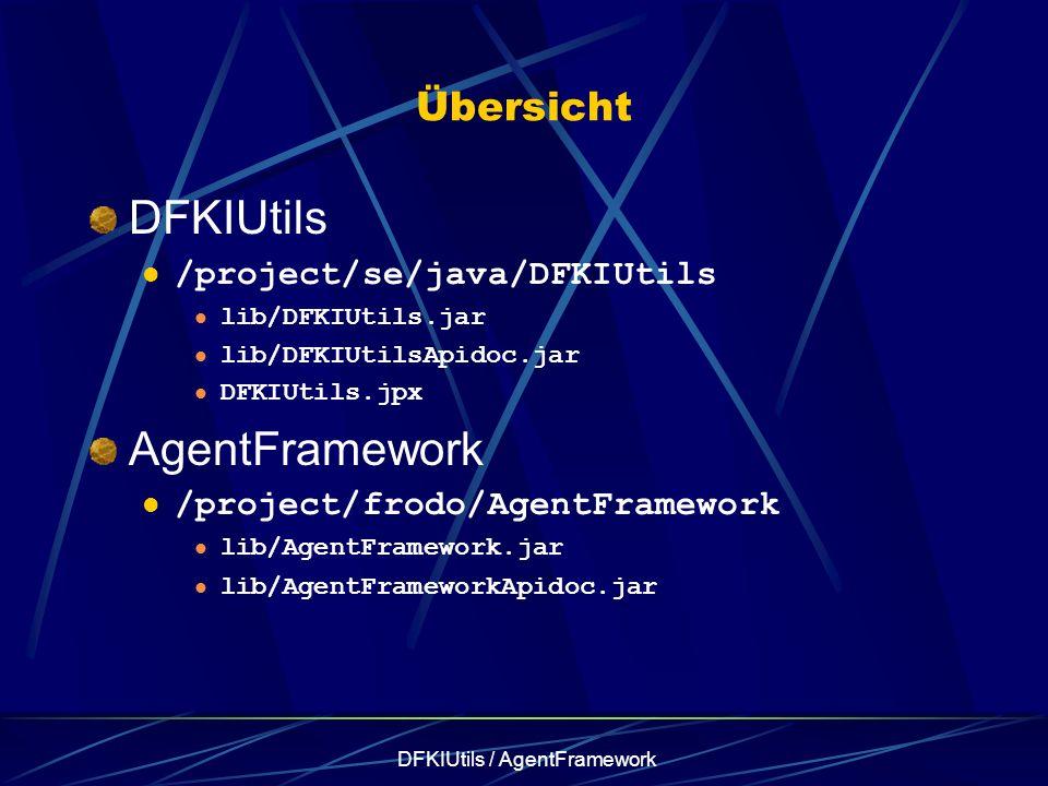 DFKIUtils / AgentFramework Übersicht DFKIUtils /project/se/java/DFKIUtils lib/DFKIUtils.jar lib/DFKIUtilsApidoc.jar DFKIUtils.jpx AgentFramework /project/frodo/AgentFramework lib/AgentFramework.jar lib/AgentFrameworkApidoc.jar