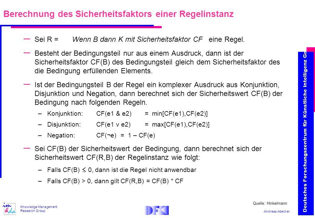 Andreas Abecker Knowledge Management Research Group Berechnung des Sicherheitsfaktors einer Regelinstanz – Sei R = Wenn B dann K mit Sicherheitsfaktor CF eine Regel.