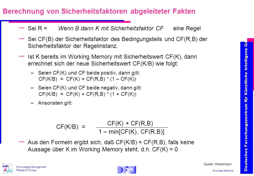 Andreas Abecker Knowledge Management Research Group – Sei R = Wenn B dann K mit Sicherheitsfaktor CF eine Regel – Sei CF(B) der Sicherheitsfaktor des Bedingungsteils und CF(R,B) der Sicherheitsfaktor der Regelinstanz.