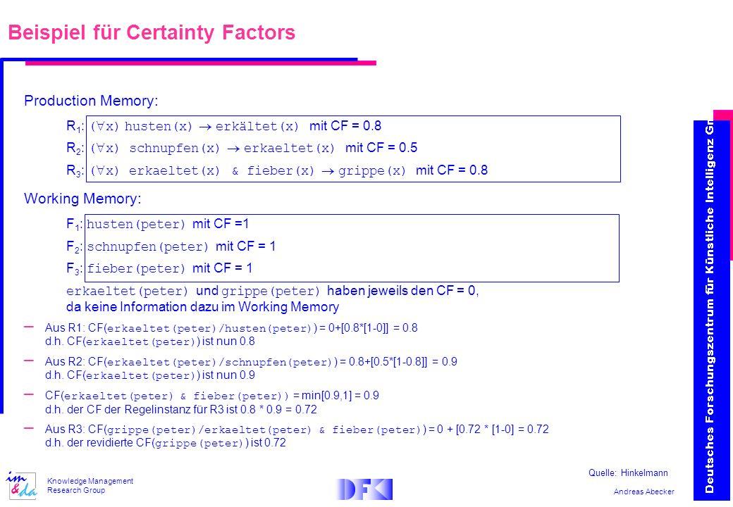Andreas Abecker Knowledge Management Research Group Production Memory: R 1 : ( x) husten(x) erkältet(x) mit CF = 0.8 R 2 : ( x) schnupfen(x) erkaeltet(x) mit CF = 0.5 R 3 : ( x) erkaeltet(x) & fieber(x) grippe(x) mit CF = 0.8 Working Memory: F 1 : husten(peter) mit CF =1 F 2 : schnupfen(peter) mit CF = 1 F 3 : fieber(peter) mit CF = 1 erkaeltet(peter) und grippe(peter) haben jeweils den CF = 0, da keine Information dazu im Working Memory – Aus R1: CF( erkaeltet(peter)/husten(peter) ) = 0+[0.8*[1-0]] = 0.8 d.h.