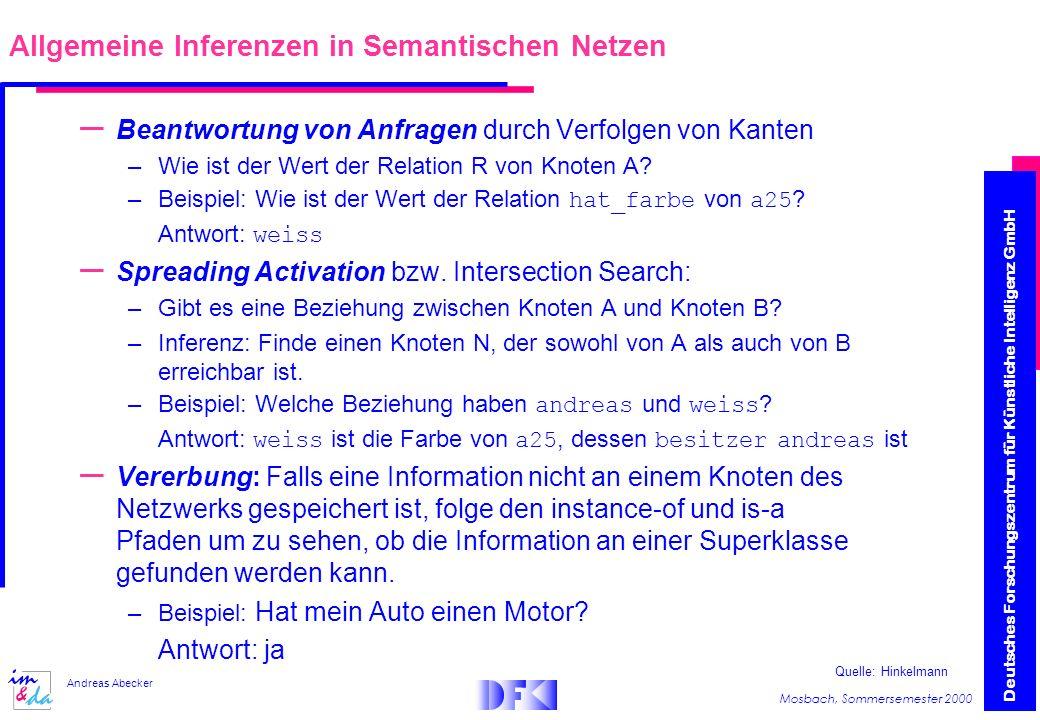 Deutsches Forschungszentrum für Künstliche Intelligenz GmbH Mosbach, Sommersemester 2000 Andreas Abecker – Beantwortung von Anfragen durch Verfolgen von Kanten –Wie ist der Wert der Relation R von Knoten A.