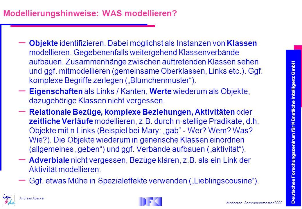 Deutsches Forschungszentrum für Künstliche Intelligenz GmbH Mosbach, Sommersemester 2000 Andreas Abecker Modellierungshinweise: WAS modellieren.