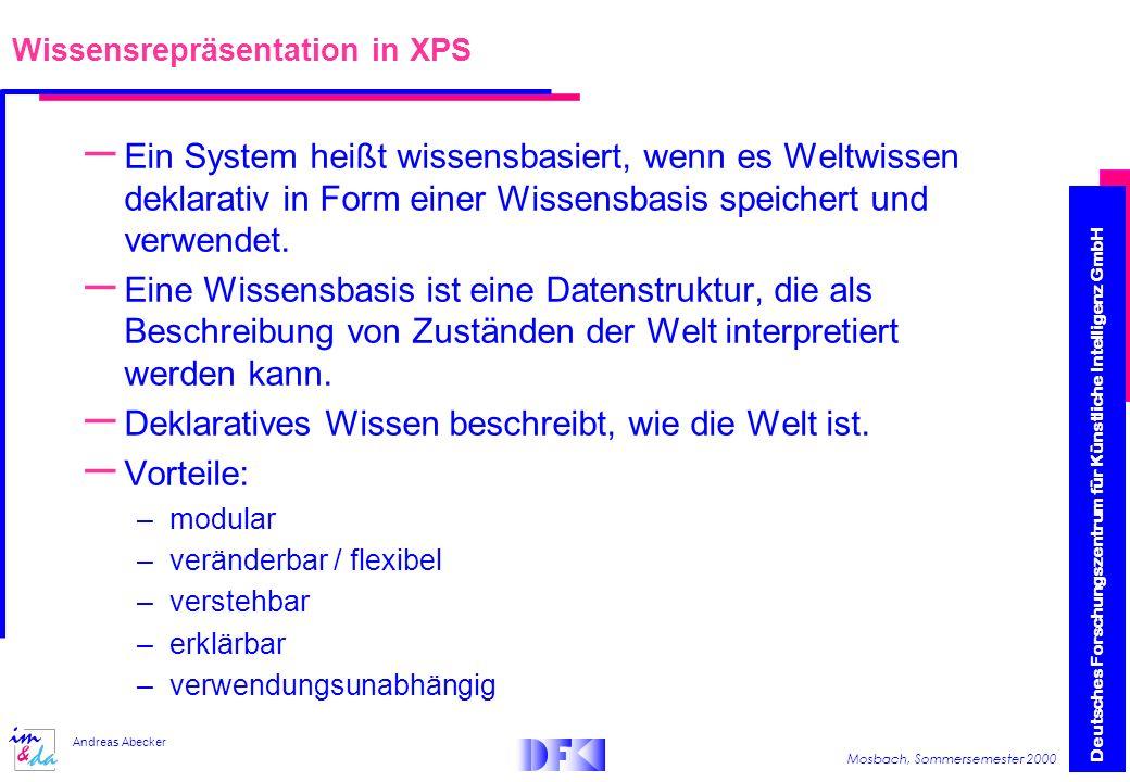 Deutsches Forschungszentrum für Künstliche Intelligenz GmbH Mosbach, Sommersemester 2000 Andreas Abecker Wissensrepräsentation in XPS – Ein System heißt wissensbasiert, wenn es Weltwissen deklarativ in Form einer Wissensbasis speichert und verwendet.