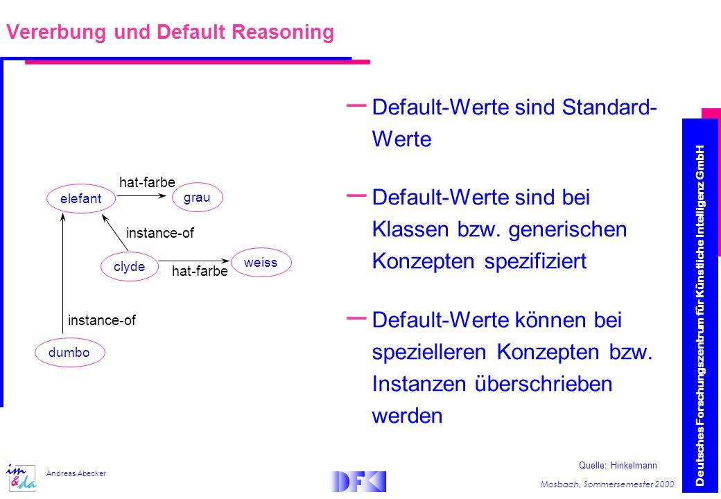Deutsches Forschungszentrum für Künstliche Intelligenz GmbH Mosbach, Sommersemester 2000 Andreas Abecker – Default-Werte sind Standard- Werte – Default-Werte sind bei Klassen bzw.
