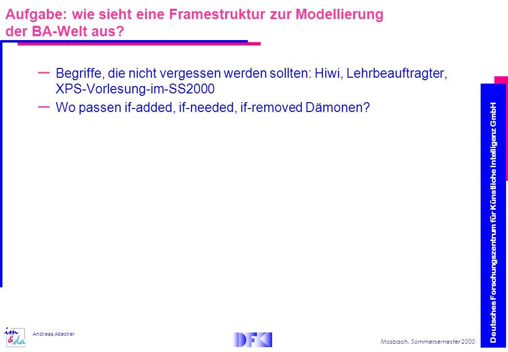 Deutsches Forschungszentrum für Künstliche Intelligenz GmbH Mosbach, Sommersemester 2000 Andreas Abecker Aufgabe: wie sieht eine Framestruktur zur Modellierung der BA-Welt aus.