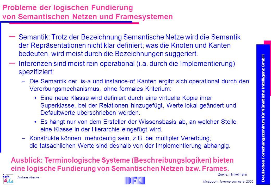 Deutsches Forschungszentrum für Künstliche Intelligenz GmbH Mosbach, Sommersemester 2000 Andreas Abecker – Semantik: Trotz der Bezeichnung Semantische Netze wird die Semantik der Repräsentationen nicht klar definiert; was die Knoten und Kanten bedeuten, wird meist durch die Bezeichnungen suggeriert.