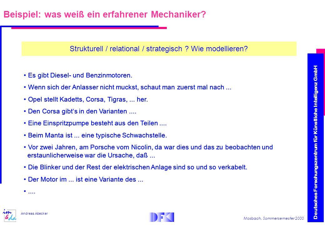Deutsches Forschungszentrum für Künstliche Intelligenz GmbH Mosbach, Sommersemester 2000 Andreas Abecker Beispiel: was weiß ein erfahrener Mechaniker.