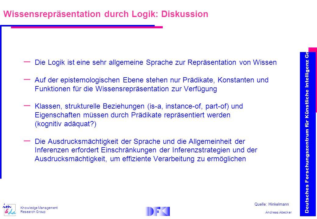 Andreas Abecker Knowledge Management Research Group Wissensrepräsentation durch Logik: Diskussion – Die Logik ist eine sehr allgemeine Sprache zur Rep