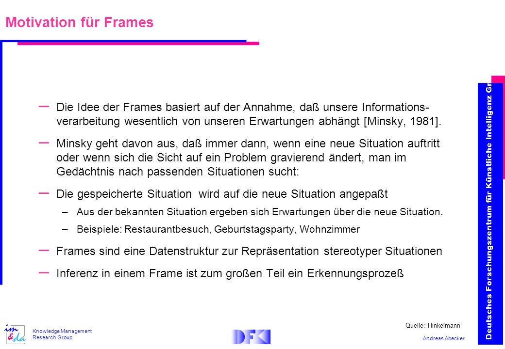 Andreas Abecker Knowledge Management Research Group Motivation für Frames – Die Idee der Frames basiert auf der Annahme, daß unsere Informations- vera