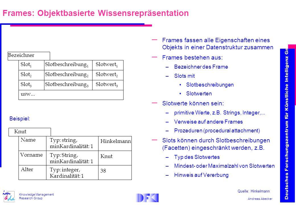 Andreas Abecker Knowledge Management Research Group – Frames fassen alle Eigenschaften eines Objekts in einer Datenstruktur zusammen – Frames bestehen