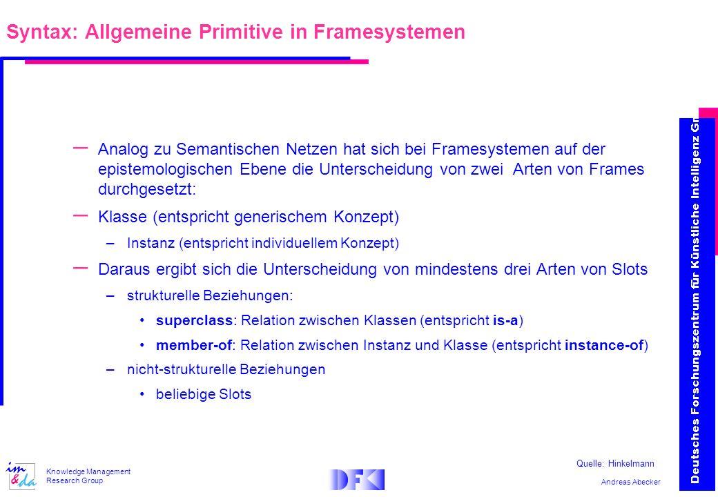 Andreas Abecker Knowledge Management Research Group – Analog zu Semantischen Netzen hat sich bei Framesystemen auf der epistemologischen Ebene die Unt