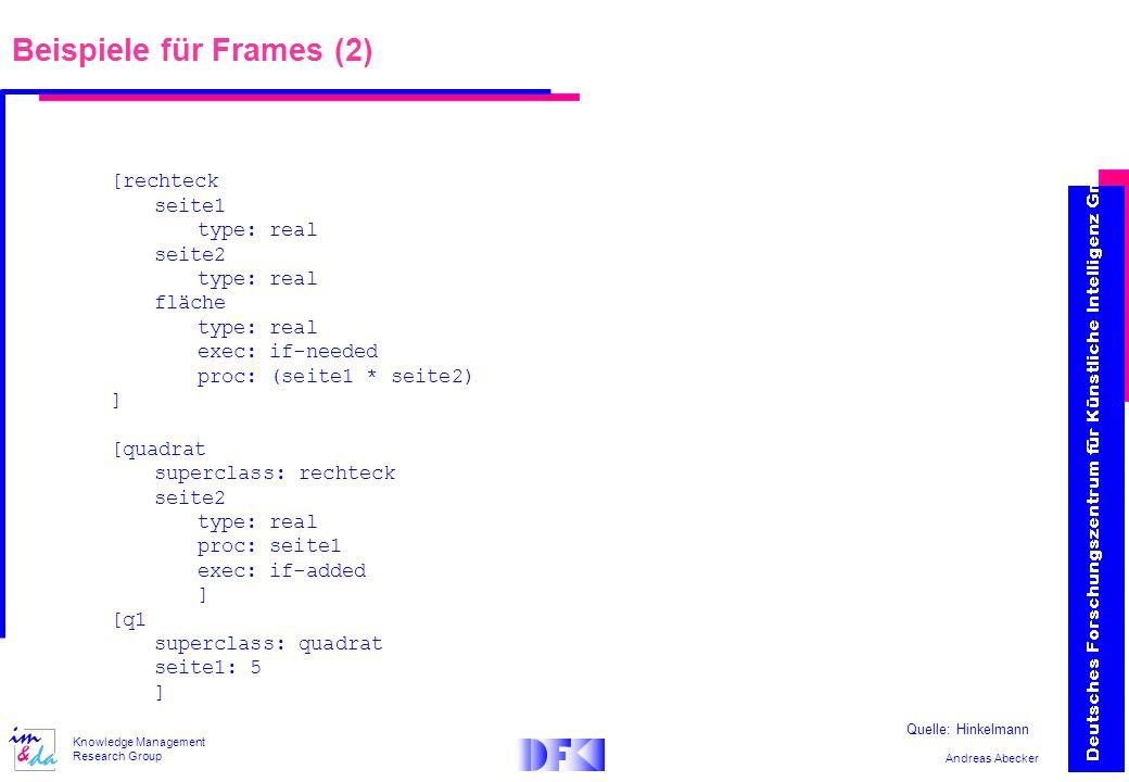 Andreas Abecker Knowledge Management Research Group Beispiele für Frames (2) [rechteck seite1 type: real seite2 type: real fläche type: real exec: if-