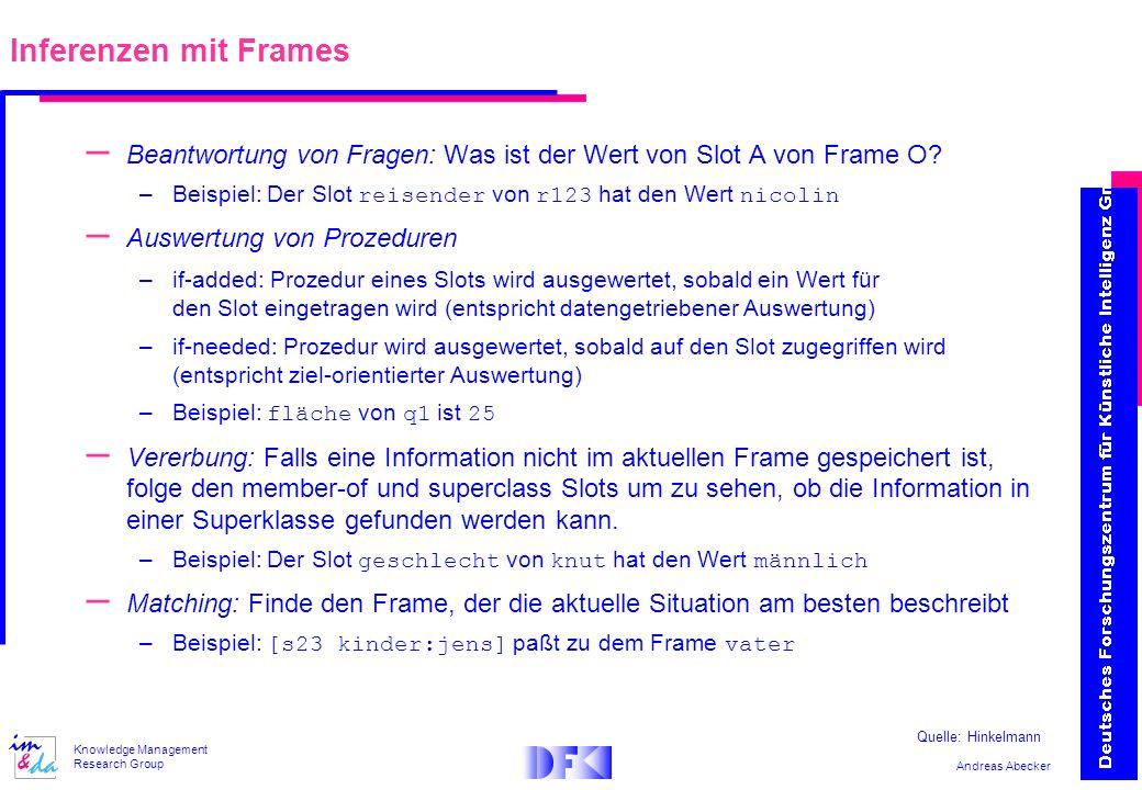 Andreas Abecker Knowledge Management Research Group – Beantwortung von Fragen: Was ist der Wert von Slot A von Frame O? –Beispiel: Der Slot reisender
