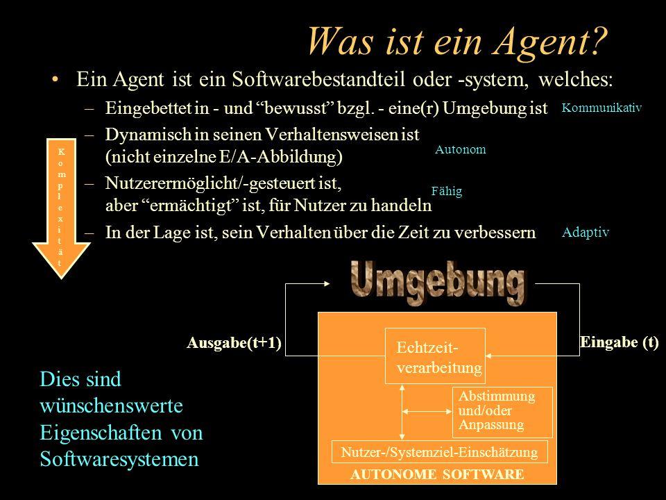 Jenseits von XML:Agenten- Semantik Die DARPA wird mit der Entwicklung einer Agent Markup Language (DAML) vorangehen –einer semantischen Sprache, welche die Information auf einer Seite an maschinenlesbare Semantik (Ontologie) knüpft Gegenwärtig auf Universitätsebene exploriert –SHOE (Maryland), Ontobroker(Karlsruhe), OML(Washington Univ) –Entsteht großenteils aus früheren DARPA-Programmen (I3, ARPI) Aber nicht ins Allgemeingut übergehend –Das W3C fokussierte kurzfristigen Gewinn:HTML/XML Beyond XML agent semantics <DEF-RELATION NAME=title-of SHORT= was written by >