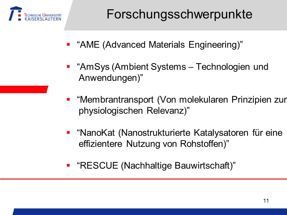 11 Forschungsschwerpunkte AME (Advanced Materials Engineering) AmSys (Ambient Systems – Technologien und Anwendungen) Membrantransport (Von molekulare