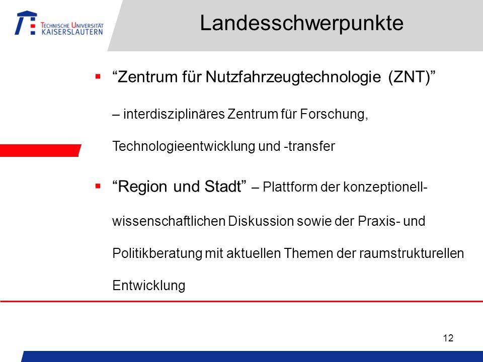 12 Landesschwerpunkte Zentrum für Nutzfahrzeugtechnologie (ZNT) – interdisziplinäres Zentrum für Forschung, Technologieentwicklung und -transfer Regio