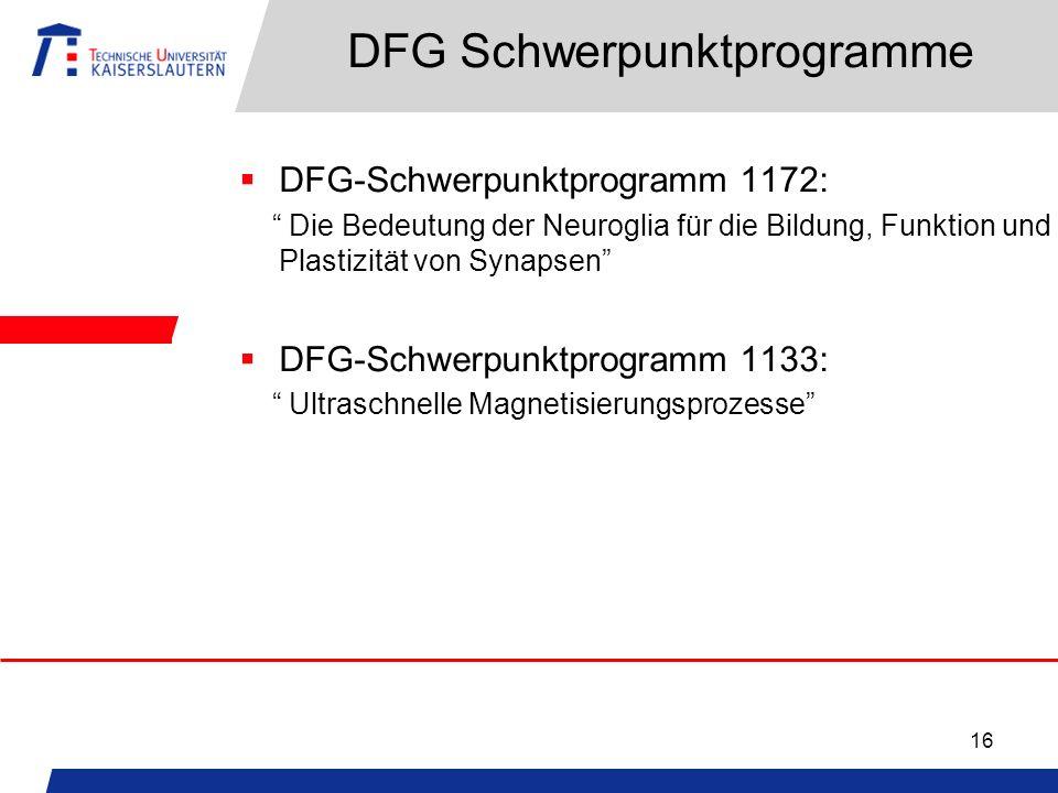 16 DFG Schwerpunktprogramme DFG-Schwerpunktprogramm 1172: Die Bedeutung der Neuroglia für die Bildung, Funktion und Plastizität von Synapsen DFG-Schwerpunktprogramm 1133: Ultraschnelle Magnetisierungsprozesse