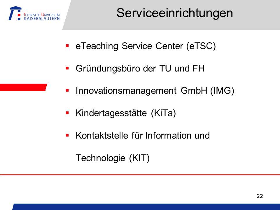 22 Serviceeinrichtungen eTeaching Service Center (eTSC) Gründungsbüro der TU und FH Innovationsmanagement GmbH (IMG) Kindertagesstätte (KiTa) Kontaktstelle für Information und Technologie (KIT)