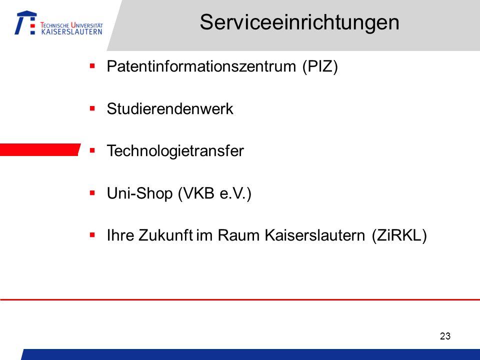 23 Serviceeinrichtungen Patentinformationszentrum (PIZ) Studierendenwerk Technologietransfer Uni-Shop (VKB e.V.) Ihre Zukunft im Raum Kaiserslautern (ZiRKL)