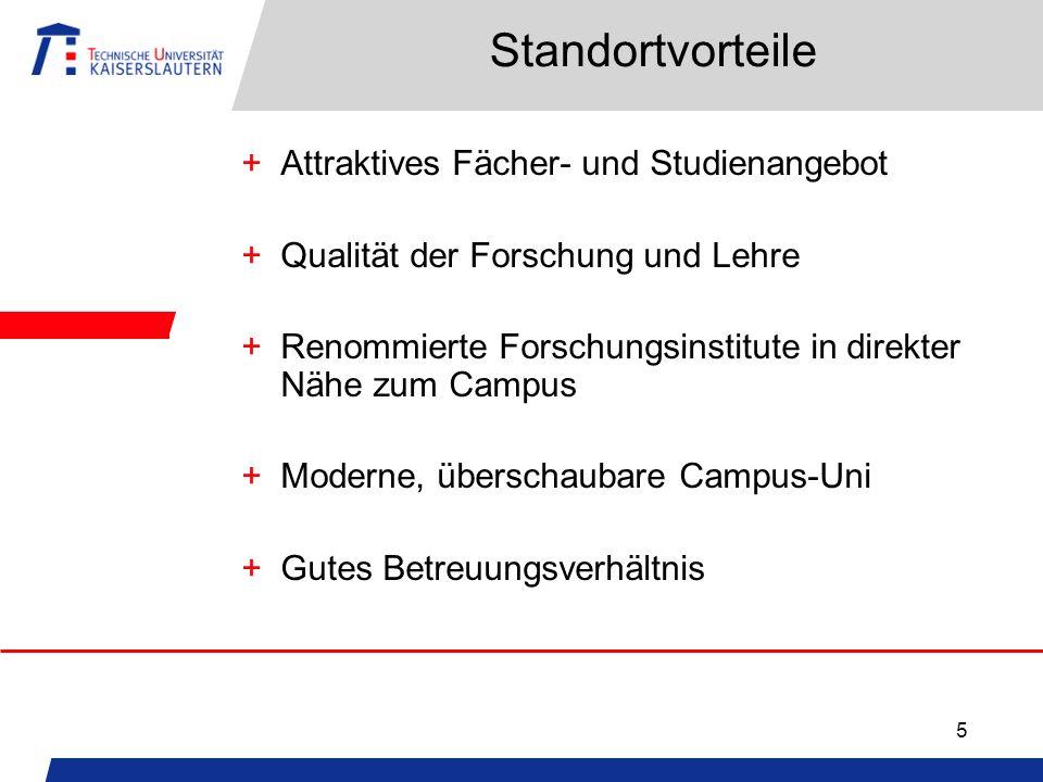 5 Standortvorteile +Attraktives Fächer- und Studienangebot +Qualität der Forschung und Lehre +Renommierte Forschungsinstitute in direkter Nähe zum Cam