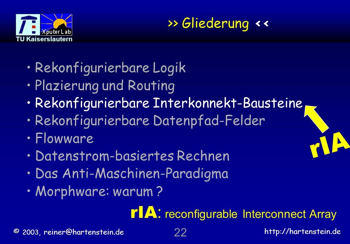 © 2003, reiner@hartenstein.de http://hartenstein.de TU Kaiserslautern 21 Routing über Chip-Grenzen hinaus Kabel im Schaltschrank verbinden die Einschübe Einschub- Verdrahtung Verbindet die Karten Karten- Verdrahtung verbindet die Chips *) 30er: Telefon-Vermittlung (ohne Chips, Crossbar / Hebdreh-Wähler statt Karten) 40er: erste Computer (ohne Chips) vor der Fabrikation .