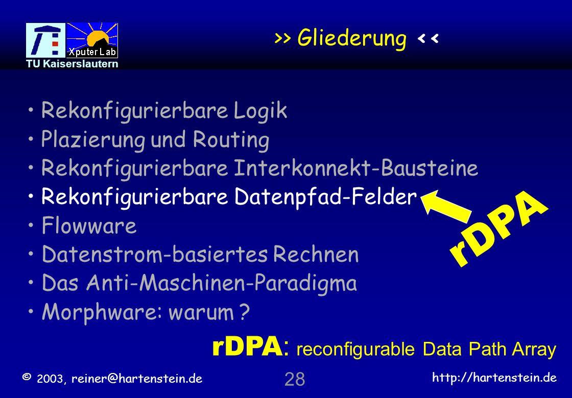 © 2003, reiner@hartenstein.de http://hartenstein.de TU Kaiserslautern 27 Routing-Stau- Beispiel mit Umleitung Direkte Verbindung unmöglich rGA hindurch-routen Umleitungs-Verbindung rLB Identitäts Funktion konfiguriert Routing-Resourcen: Logik-Gatter und/oder Pass-Transistoren © 2003, reiner@hartenstein.de 27