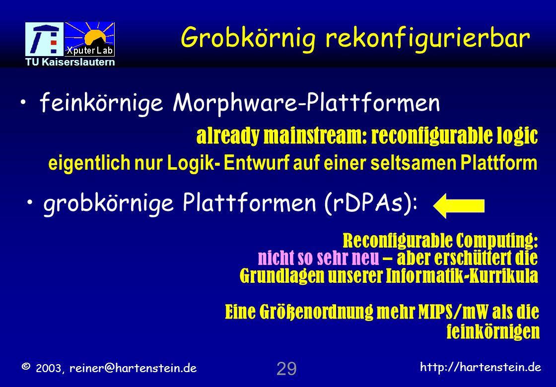 © 2003, reiner@hartenstein.de http://hartenstein.de TU Kaiserslautern 28 >> Gliederung << Rekonfigurierbare Logik Plazierung und Routing Rekonfigurier