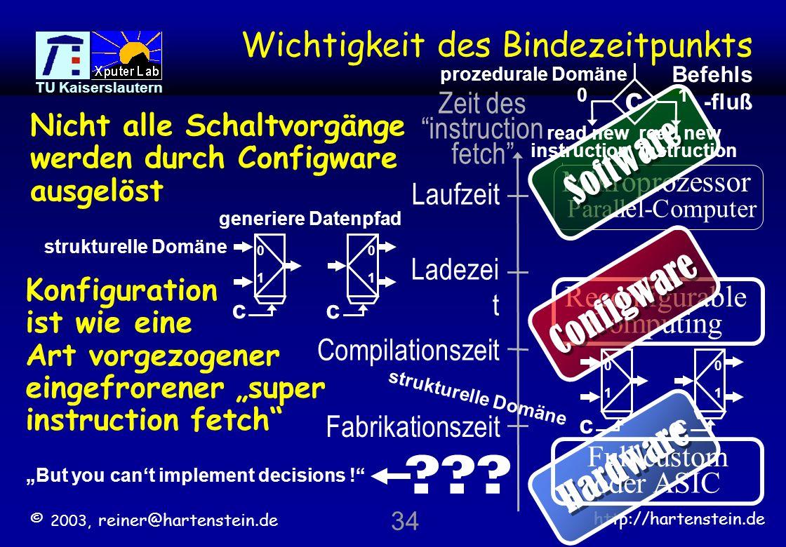 © 2003, reiner@hartenstein.de http://hartenstein.de TU Kaiserslautern 33 array size: 10 x 16 = 160 rDPUs mapping algorithms efficently onto rDPA rout thru only not used backbus connect Structured Configware Design [R.
