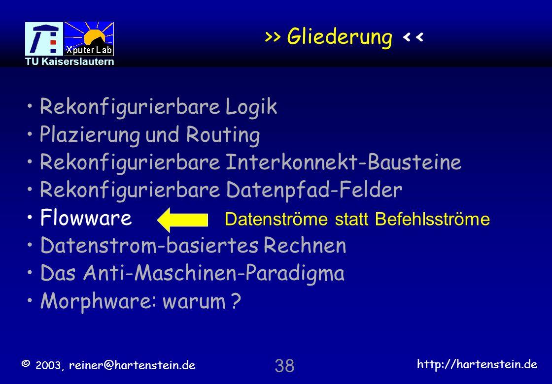 © 2003, reiner@hartenstein.de http://hartenstein.de TU Kaiserslautern 37 Super-Systolische Pipe-Netzwerke Der Schlüssel ist das mapping, weniger die Architektur * *) KressArray [ASP-DAC-1995]