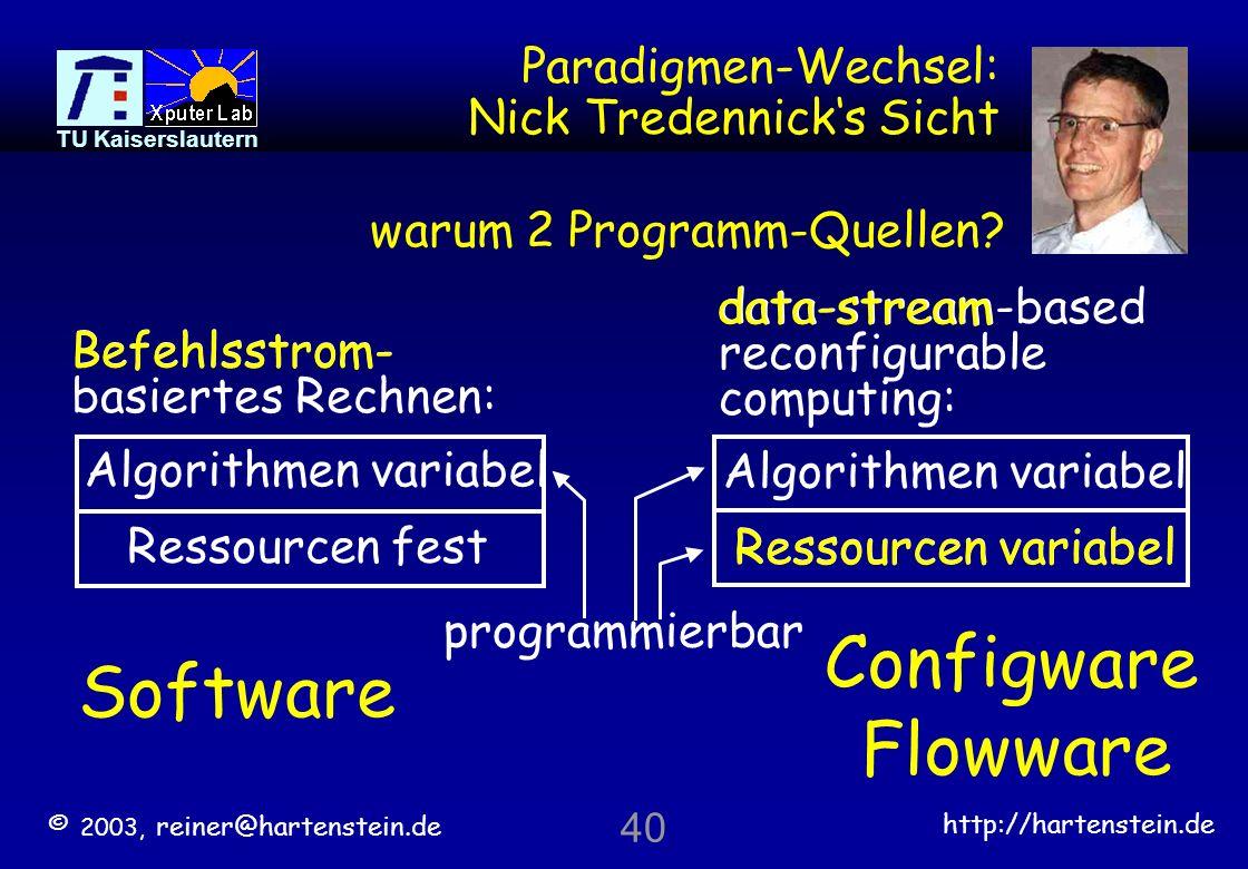 © 2003, reiner@hartenstein.de http://hartenstein.de TU Kaiserslautern 39 DPA x x x x x x x x x | || xx x x x x xx x -- - Eingangs- Datenströme xx x x