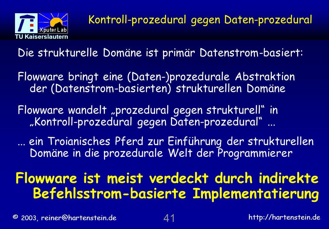 © 2003, reiner@hartenstein.de http://hartenstein.de TU Kaiserslautern 40 Paradigmen-Wechsel: Nick Tredennicks Sicht Algorithmen variabel Ressourcen fest Befehlsstrom- basiertes Rechnen: Algorithmen variabel Ressourcen variabel data-stream-based reconfigurable computing: programmierbar warum 2 Programm-Quellen.