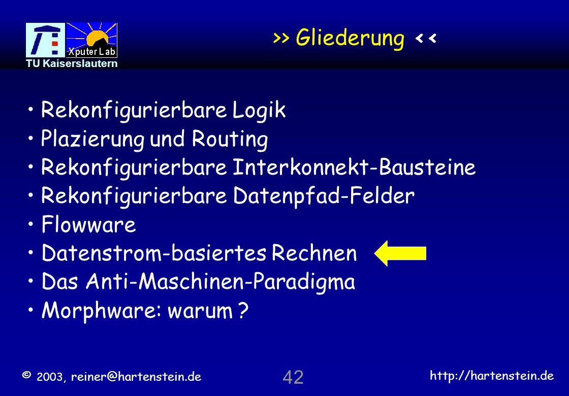 © 2003, reiner@hartenstein.de http://hartenstein.de TU Kaiserslautern 41 Kontroll-prozedural gegen Daten-prozedural Die strukturelle Domäne ist primär
