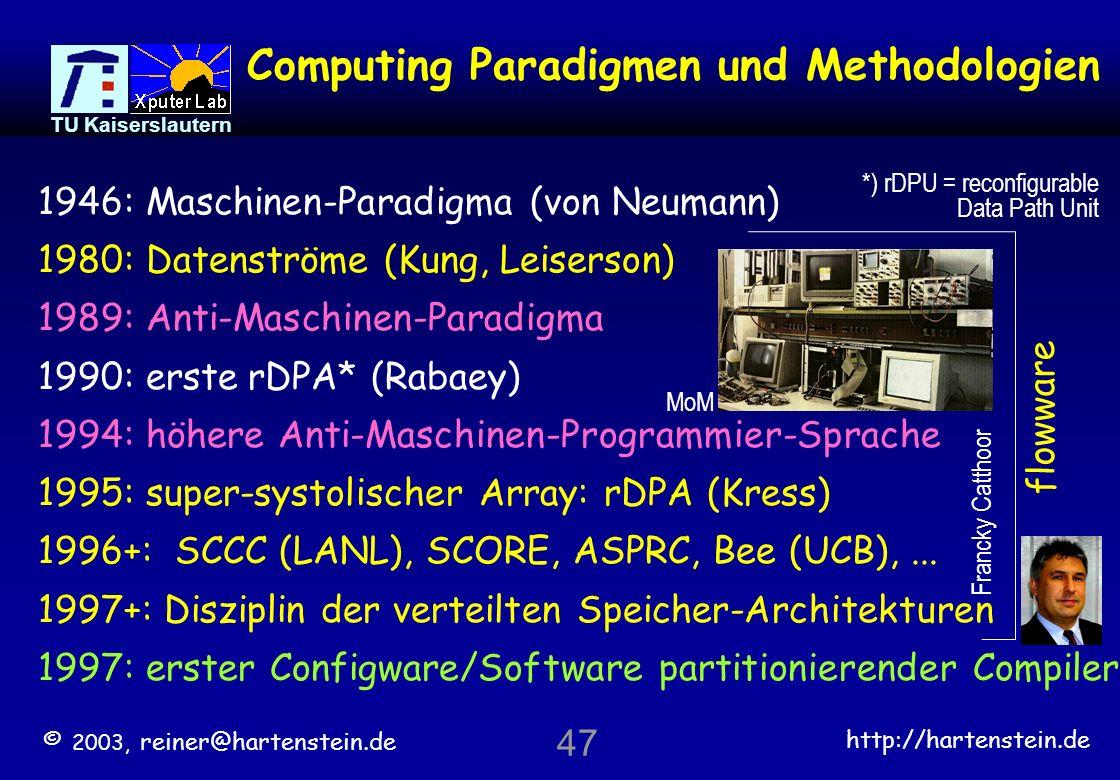 © 2003, reiner@hartenstein.de http://hartenstein.de TU Kaiserslautern 46 >> Gliederung << Rekonfigurierbare Logik Plazierung und Routing Rekonfigurierbare Interkonnekt-Bausteine Rekonfigurierbare Datenpfad-Felder Flowware Datenstrom-basiertes Rechnen Das Anti-Maschinen-Paradigma Morphware: warum ?