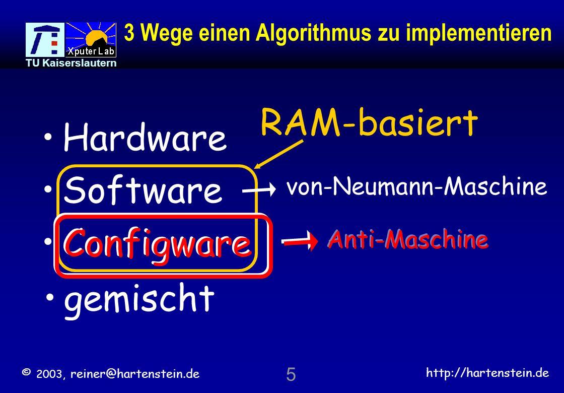 © 2003, reiner@hartenstein.de http://hartenstein.de TU Kaiserslautern 45 >>> extreme effizient: Flowware-basiertes Rechnen 1.Flowware-Sprachen einfacher als Software-Sprachen und leichter zu lernen 2.Viel weniger Konfigurations-Speicher 3.Adreßrechnung verbraucht kaum Speicherzyklen 4.hohe Parallelität durch vielfache tiefe Pipelines 5.alle Methodologien sind fertig verfügbar click recent talks auch Dissertationen: